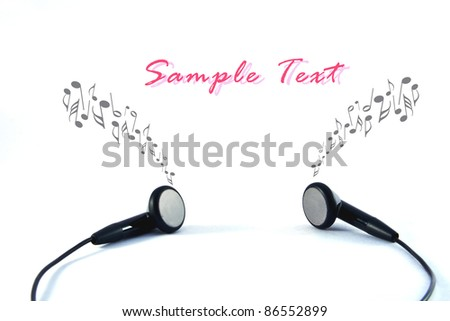 Black headphones with wires on white background