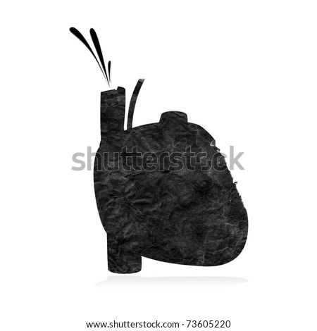 Black heart (Clipping path included) - stock photo