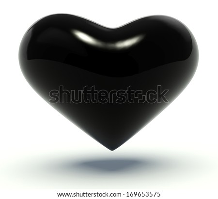Black heart. 3d render illustration.  - stock photo