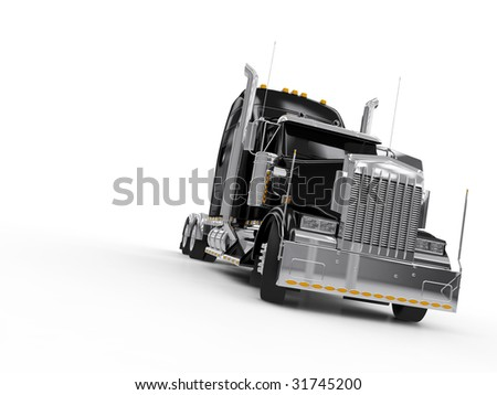 Black heavy truck isolated on white background - stock photo