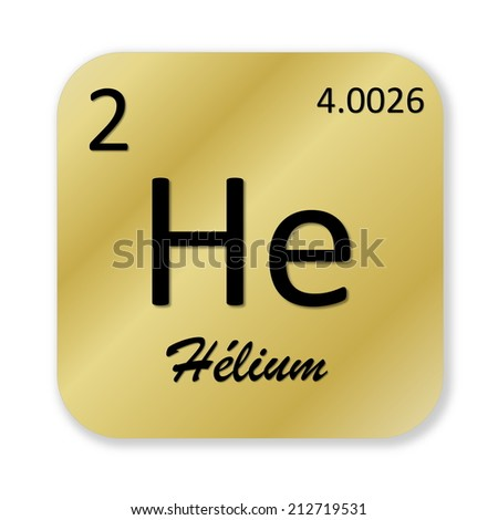 Black helium element, french, into golden square shape isolated in white background - stock photo