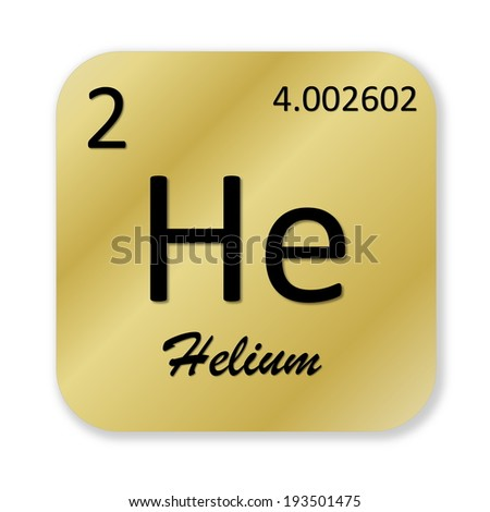 Black helium element into golden square shape isolated in white background - stock photo