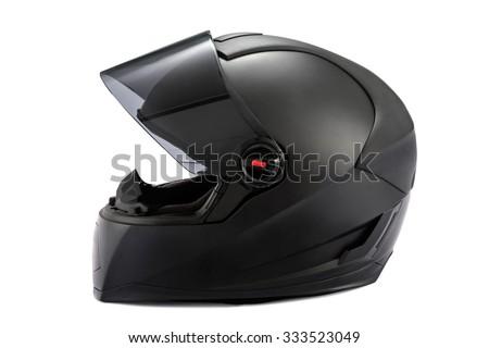 Black helmet Isolated on white background - stock photo
