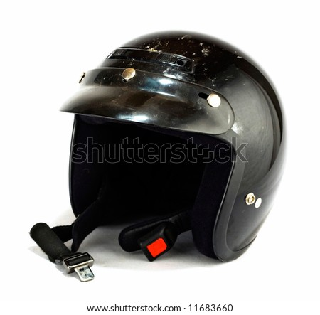 black helmet on a white background - stock photo