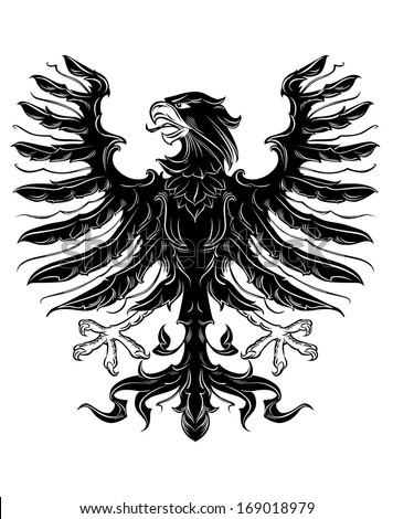 Black heraldic eagle in retro royal style, or logo idea. Vector version also available in gallery - stock photo