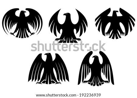 Black heraldic eagles for tattoo and heraldry logo design. Vector version also available in gallery - stock photo