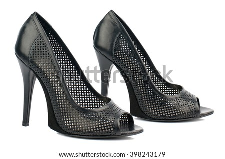 Black high heel shoes isolated on white background.Side view.