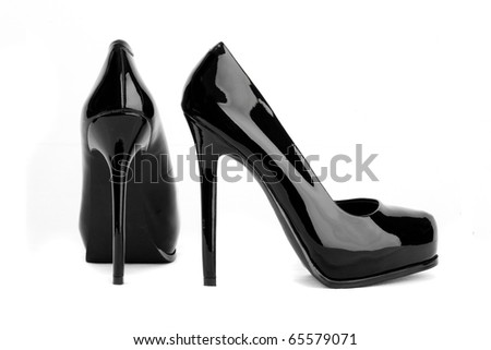 Black high heel women shoes isolated on white - stock photo