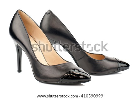 Black high heel women shoes isolated on white background. - stock photo