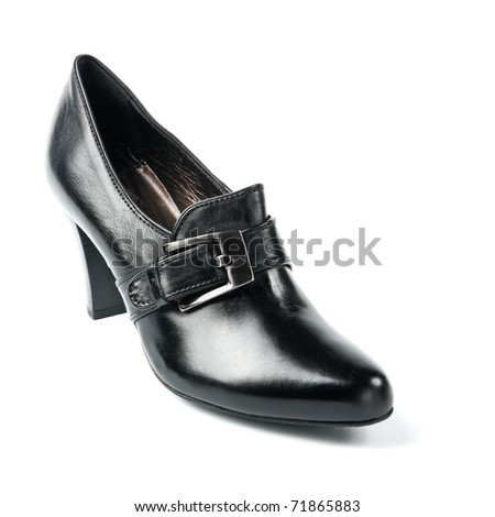 Black high heel women shoes on white background. Women's accessories. - stock photo