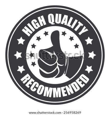 black high quality recommended sticker, badge, icon, stamp, label, banner, sign isolated on white - stock photo