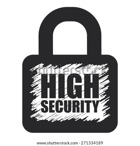 Black High Security Lock Banner, Sign, Label or Icon Isolated on White Background - stock photo