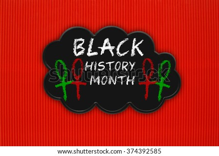 Black History Month Black Thought Cloud Hanging on Red Background - stock photo