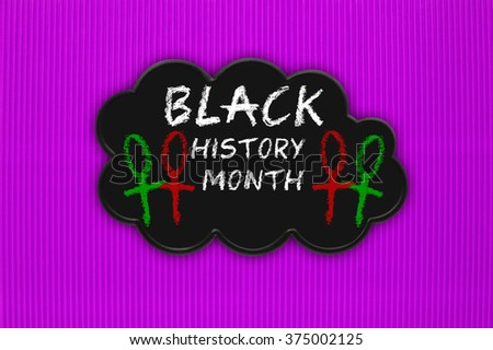 Black History Month Black Thought Cloud purple textured background pattern - stock photo