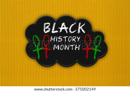 Black History Month Black Thought Cloud yellow textured background pattern - stock photo