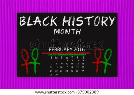 Black History Month February 2016 Calendar Blackboard hanging on purple textured background pattern - stock photo