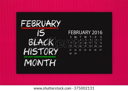 Black History Month February 2016 Calendar Blackboard hanging on red textured background - stock photo