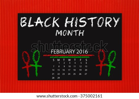 Black History Month February 2016 Calendar Blackboard hanging on red textured background pattern - stock photo