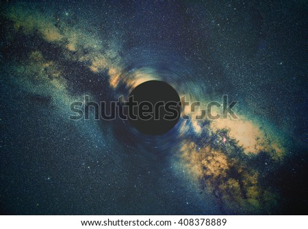 Black hole and Milky way stars in deep space / cosmos. Stars are taken through my telescope. - stock photo