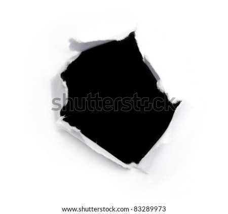 Black hole on a white paper - stock photo