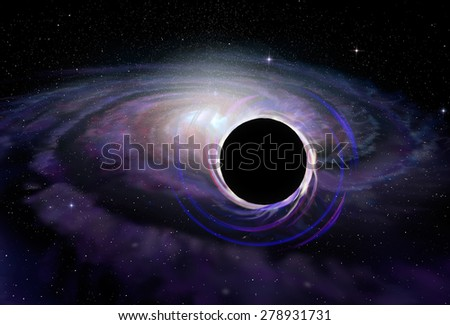 Black hole star in deep space, illustration - stock photo
