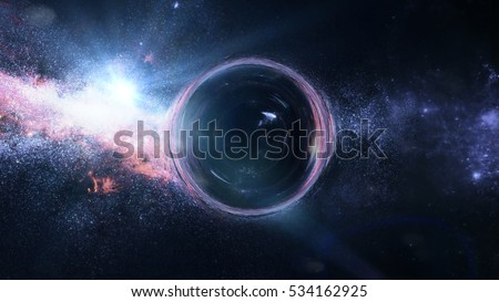 black hole with gravitational lens effect in front of bright stars  (3d illustration, Elements of this image are furnished by NASA)