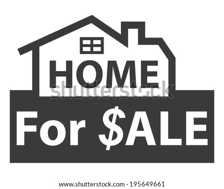 Black Home for $ale Icon, Sign or Label Isolated on White Background  - stock photo