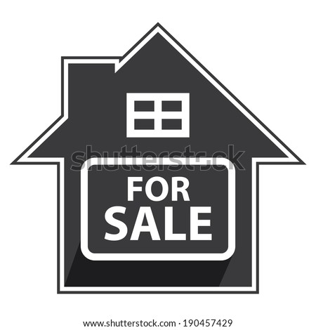 Black Home For Sale Sign, Icon, Sticker or Label Isolated on White Background - stock photo