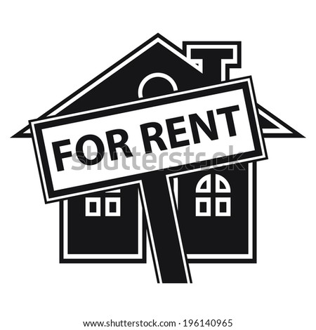 Black Home or Residence for Rent Icon or Label Isolated on White Background  - stock photo