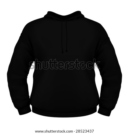 Black hoodie isolated on white background (clipping path). - stock photo