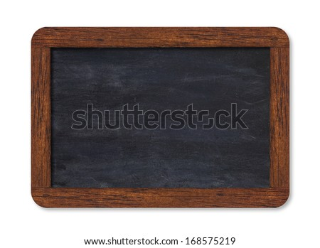 Black horizontal blank chalkboard with wooden frame including clipping path - stock photo