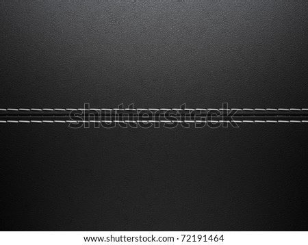 Black horizontal stitched leather background. Large resolution - stock photo