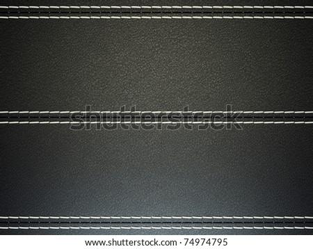 Black horizontal stitched leather background. Large resolution - stock photo