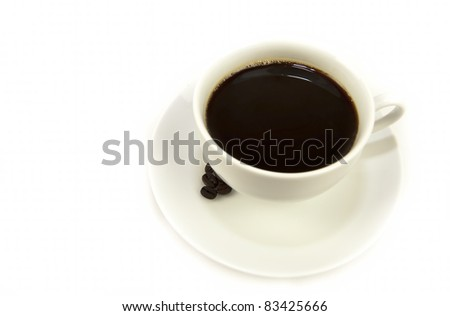 black hot espresso coffee in white cup on a white background