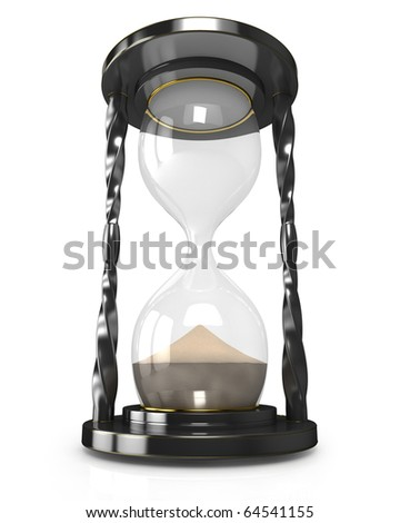 Black hourglass, time is up - stock photo