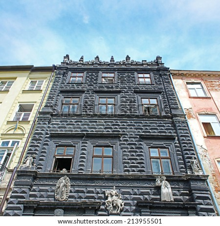 Black House (Chorna Kamyanytsia) is a remarkable Renaissance building on Market Square in Lviv, Ukraine. It was built in 1577 (architect - Piotr Krasowski), since 1926 it houses Lviv Historical Museum - stock photo