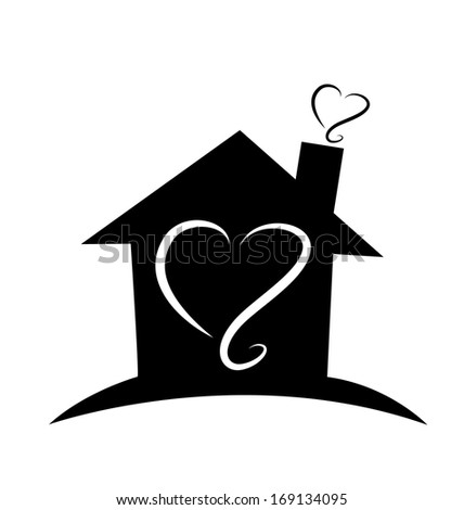 Black house with heart  - stock photo