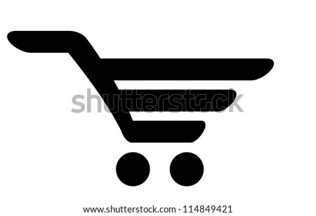 Black icon of shopping cart - stock photo