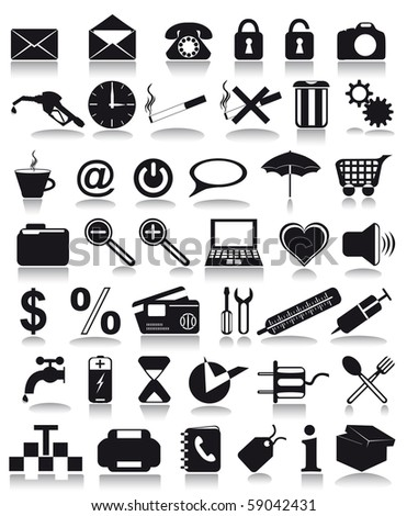 black icons  illustration isolated on white background - stock photo