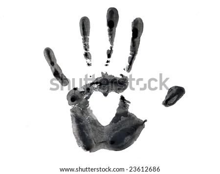 Black imprint of hand - stock photo
