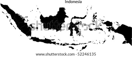 Black Indonesia map separated on the provinces - stock photo