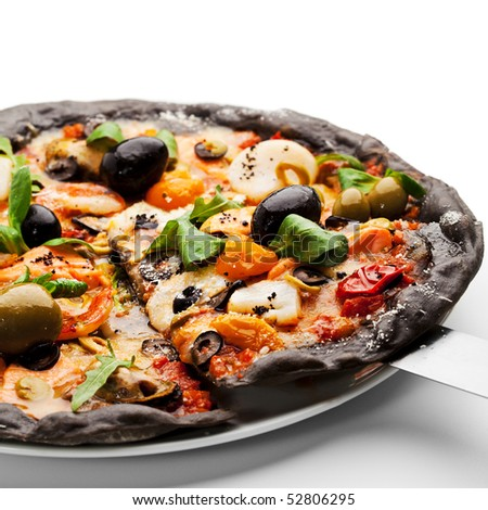 Black Ink Dough Pizza with Seafood, Black and Green Olives, Dried Tomato and Salad Leaves