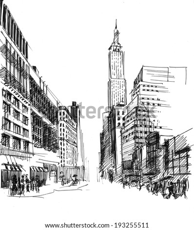 Black ink-drawing of city avenue with set of skyscrapers in New York - stock photo