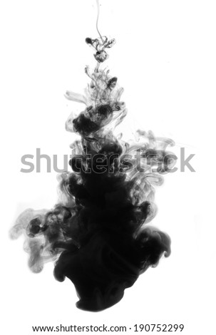 Black ink drop in water isolated on white - stock photo