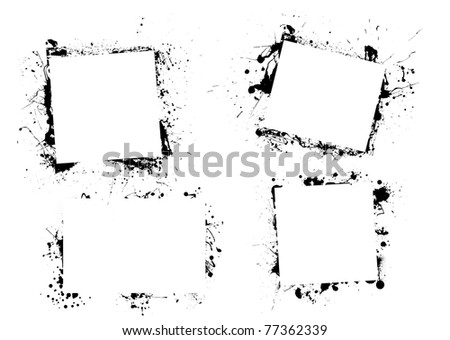 Black ink grunge frame border with copyspace - stock photo
