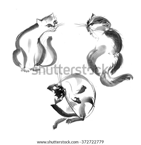 black ink hand drawing illustration of cats