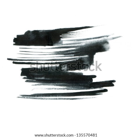 Black ink painting on grunge paper texture - stock photo