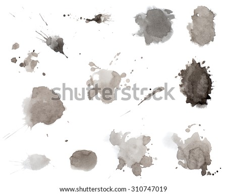 Black ink splashes in watercolor style - stock photo
