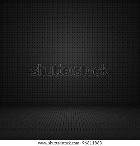 Black interior background of circle mesh pattern texture - stock photo