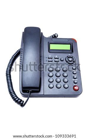 black IP phone closeup isolated on white background - stock photo
